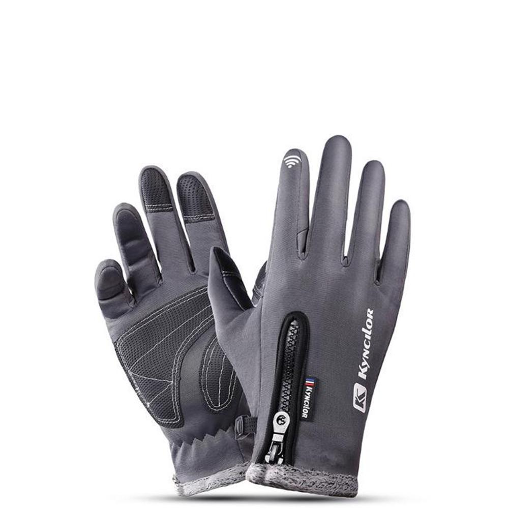 Autumn Winter Warm Telefingers Gloves Riding Driving Thicken Gloves for Men  gray_M