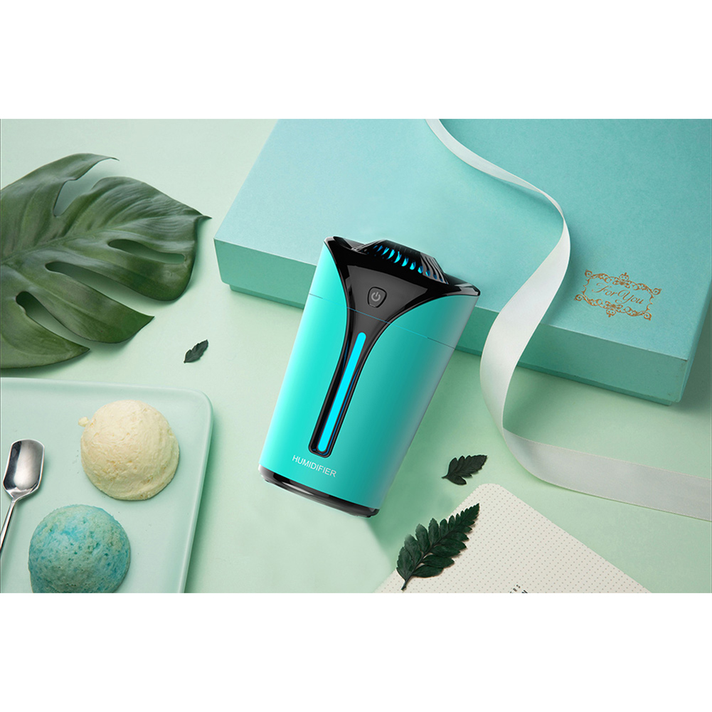 3 in 1 small fan flame cup shaped humidifier Light Colorful Lamp USB Mini Air Purifier Home Office green