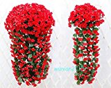 Ainest 1 Bunches of Artifical Violet Bracketplant Hanging Garland Vine Flower New Red