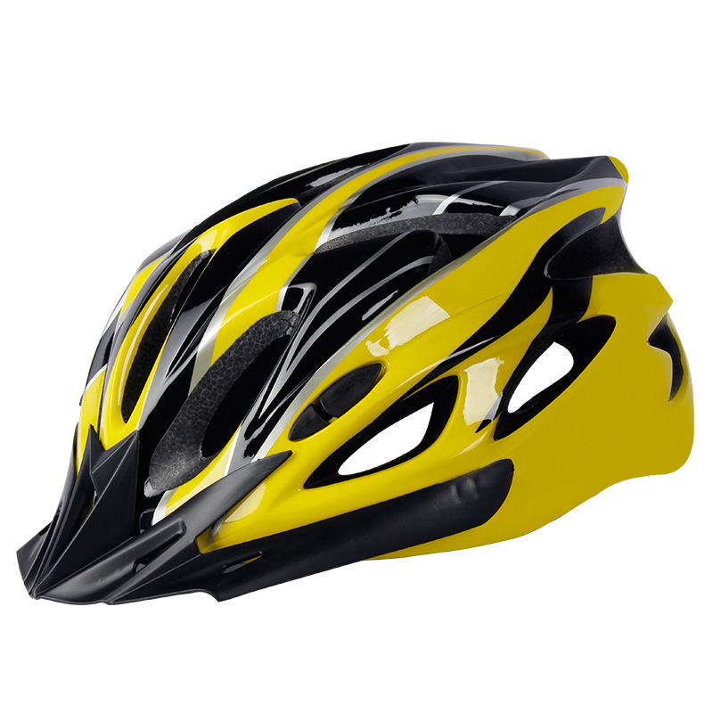 Bicycle Cycling Helmet EPS+PC Cover Integrated-Mold Breathable Riding Helmet MTB Bike Safely Cap Riding Equipment Black yellow_Head circumference 52-60 adjusted