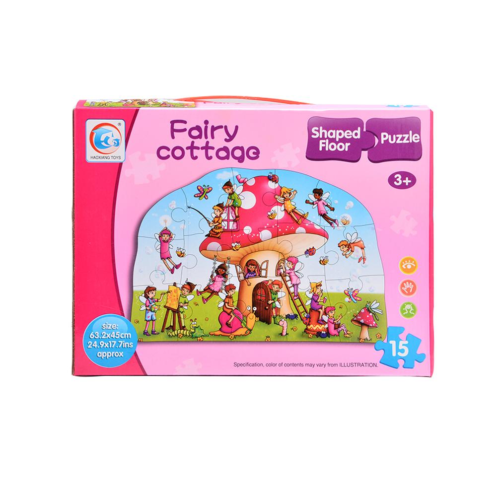 [US Direct] Fairy Cottage Shaped Floor Puzzle (15-Piece)
