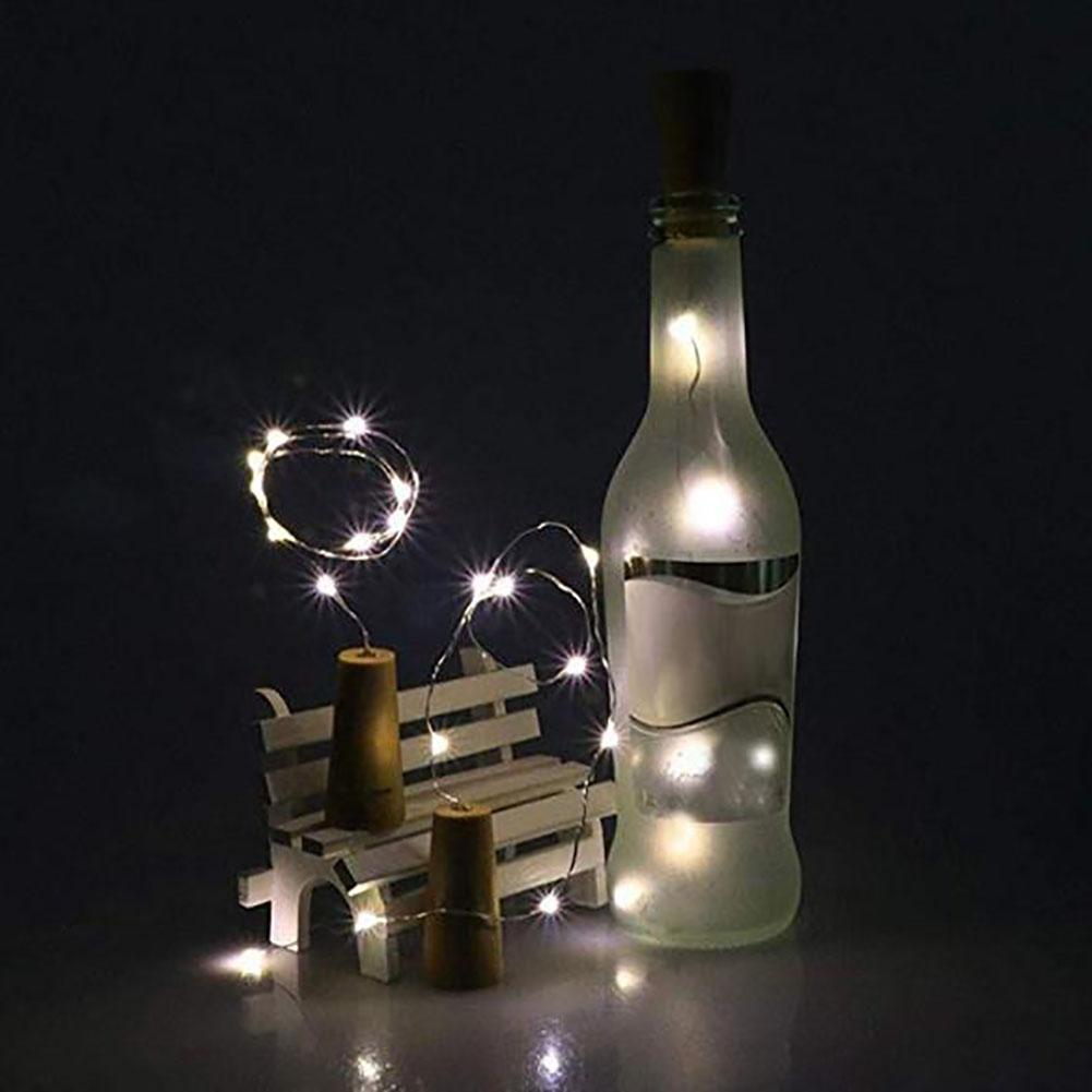 2M 20Pcs Christmas Colour Lamp Solar Wine Bottle Stopper lamp String Outdoors Waterproof Copper Wire Lamp String  White_Solar 2m 20 light