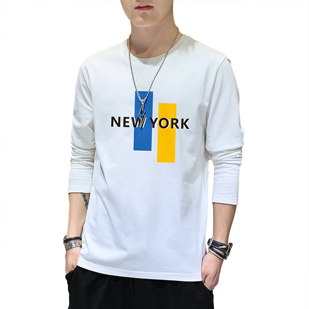 Men's T-shirt Long-sleeve Thin Type Crew-neck Loose Large Size Bottoming Shirt white_L