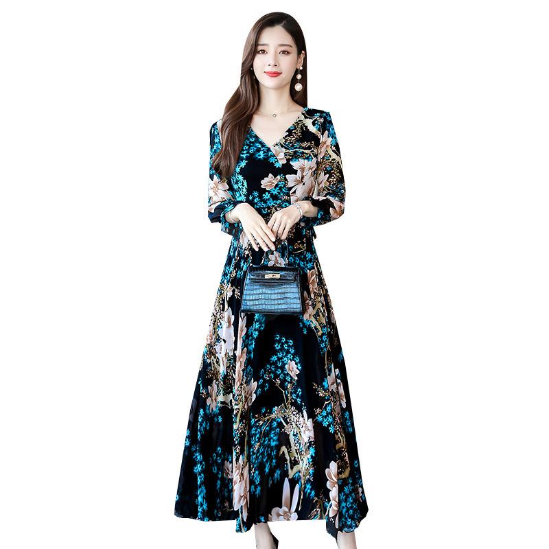 Women Long Sleeve Dress Fall Autumn Floral Printing Waisted V-neck Dress blue_XL