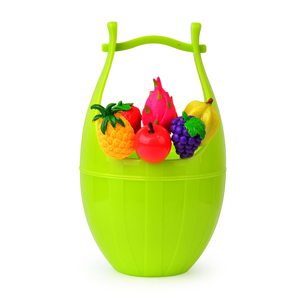 Fruit Shaped  Food  Fork With Barrel Holder Food Picking Tool For Kitchen Dining Room Green_Wooden bucket 1+6 sticks