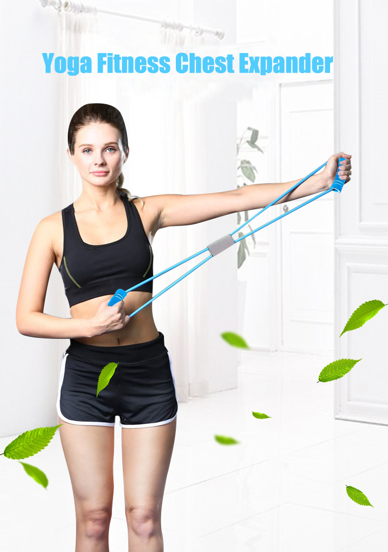 Resistance Bands Yoga Fitness Resistance 8 Word Chest Expander Rope Workout Muscle Fitness Rubber Elastic Bands for Exercise blue_Upgrade