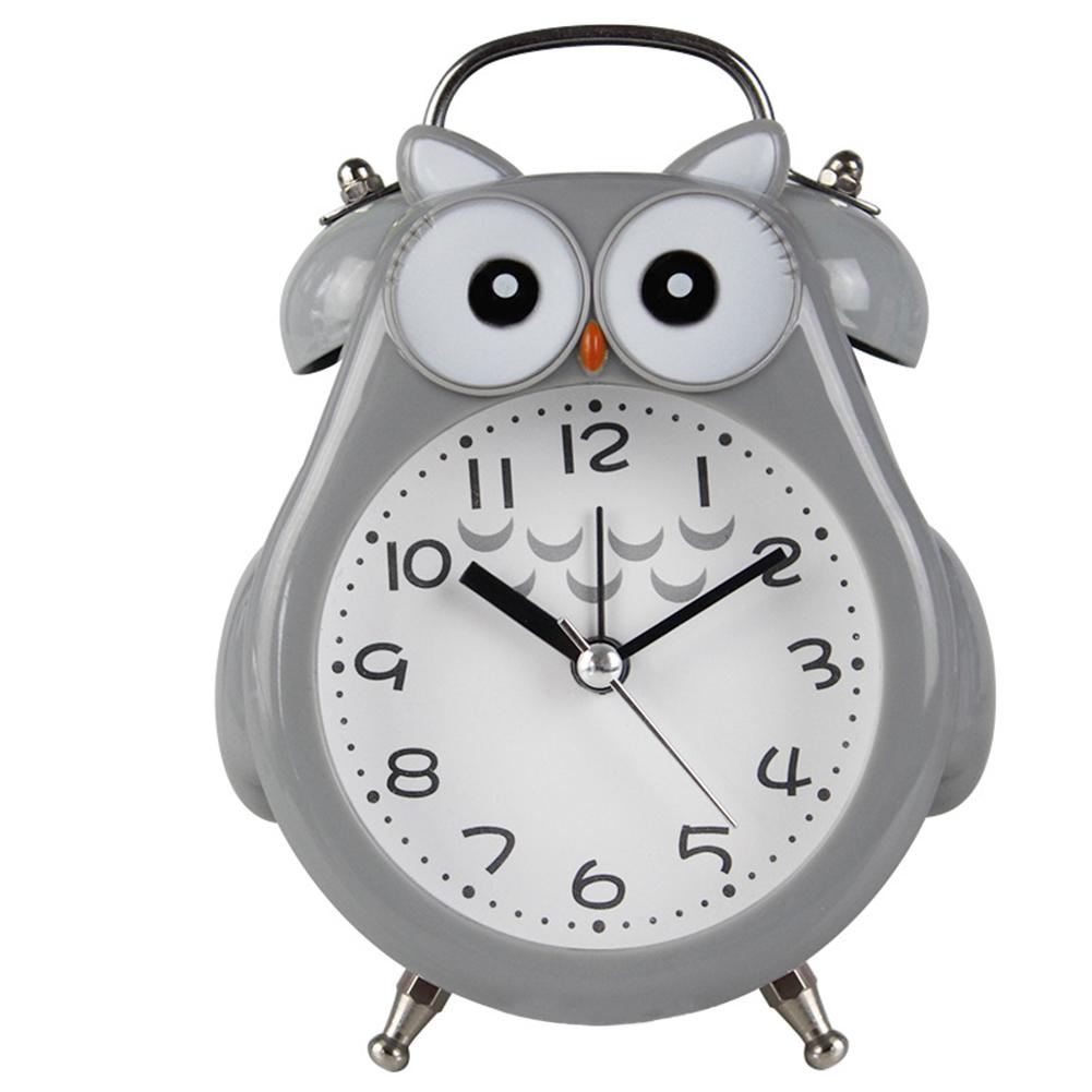 Cute Cartoon Owl Sahpe Metal Mute Movement Alarm Clock with Night Light gray