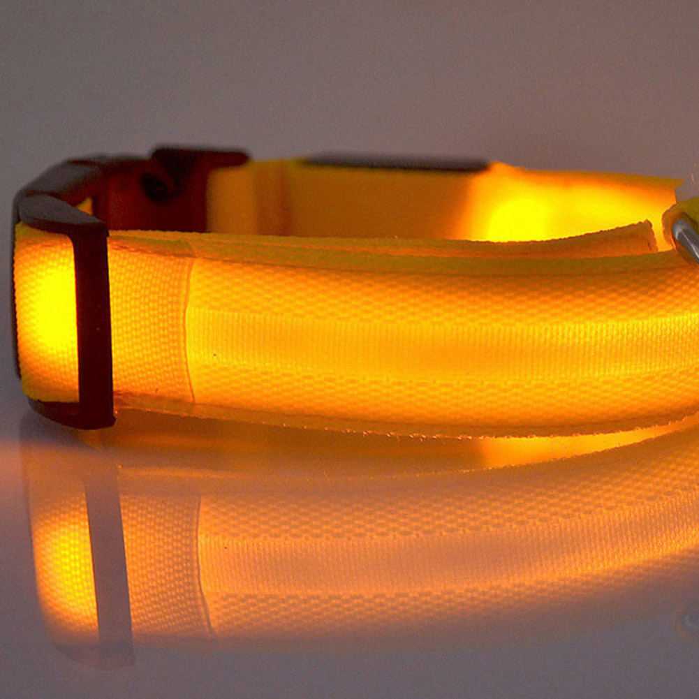 LED Pet Cat Dog Collar Night Safety Luminous Necklaces for Outdoor Walking yellow_L