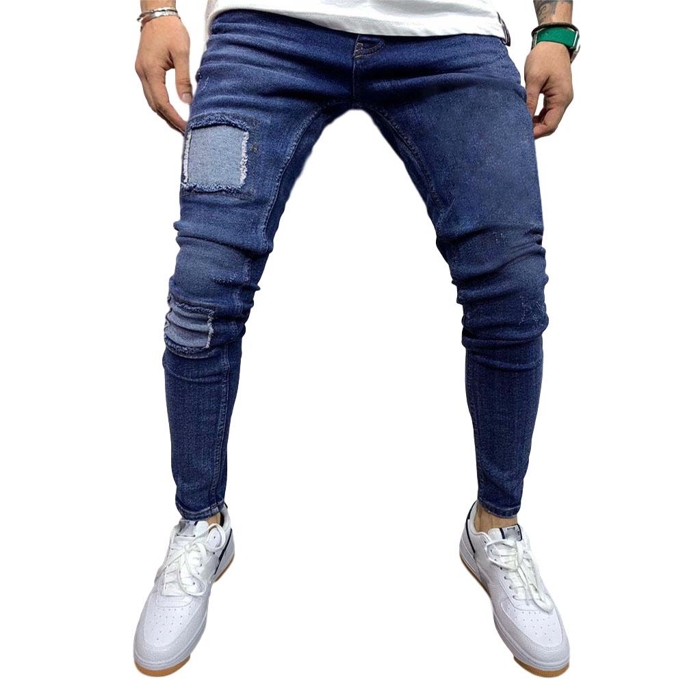 Men Jeans Fashion Middle Waist Patch Denim Trousers Pants for Adults Blue_L