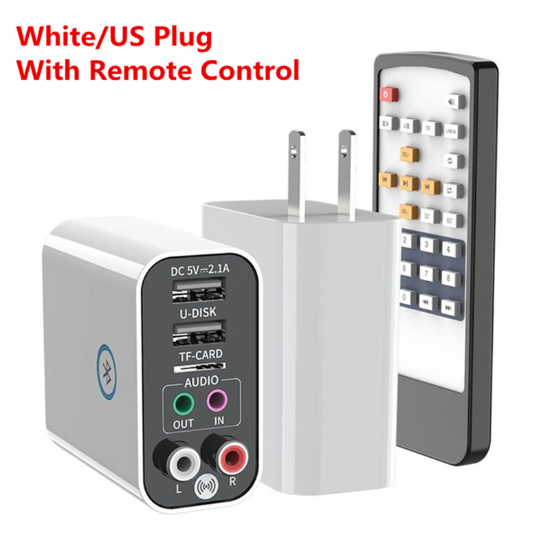 2-in-1 Wireless Audio Adapter Bluetooth 5.0 Receiver Transmitter Aux Audio Adapter White_U.S. Plug