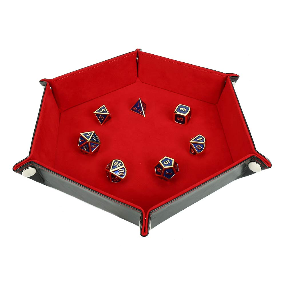 Solid Color Hexagonal Dice Tray Folding PU Storage Box for Table Games  red_30.8*23*5cm