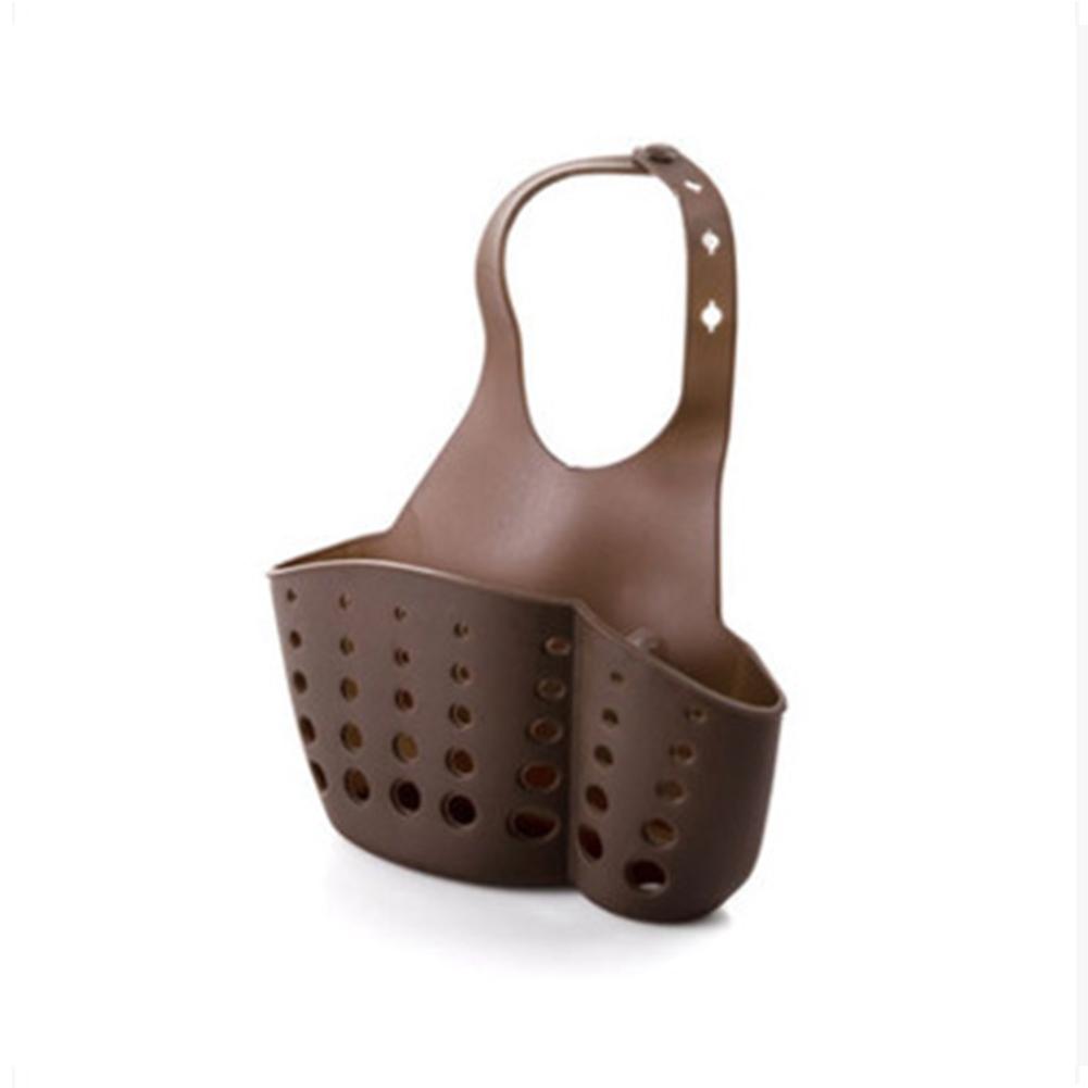 Adjustable Button Type Sink Storage Hanging Drain Basket for Kitchen Sponge Brown
