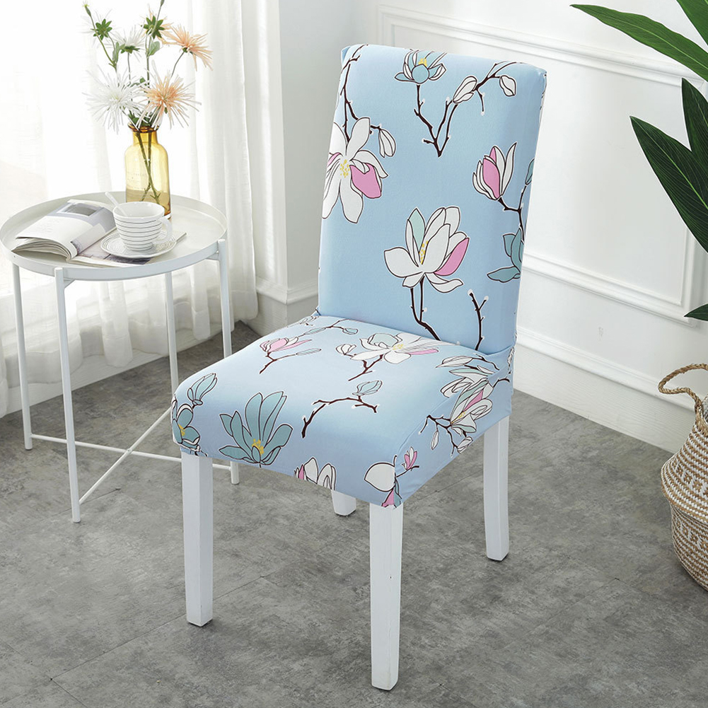 Printing Removable Chair Cover Stretch Elastic Slipcoversfor Weddings Banquet Blues_One size