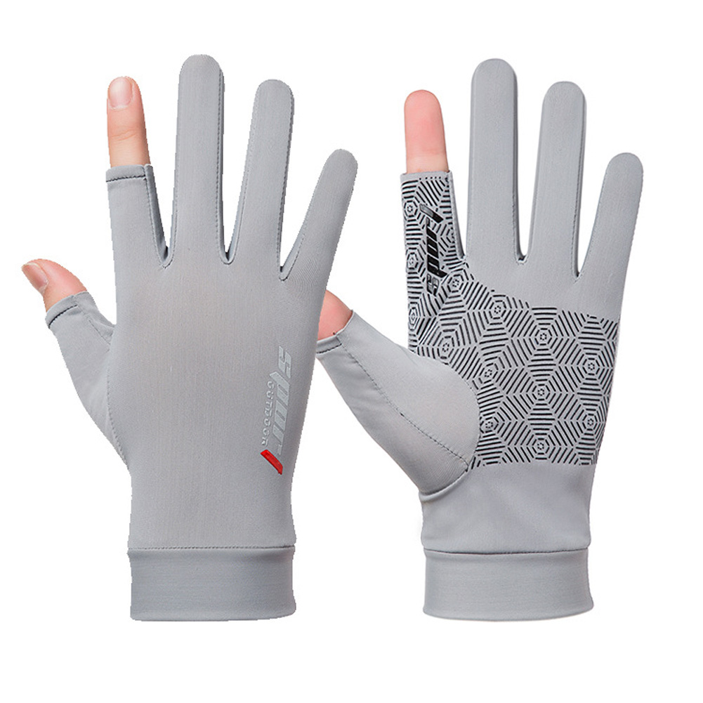 1 Pair Fishing Gloves Outdoor Fishing Protection Anti-slip Half Finger Sports Fish Equipment Three fingers gray_One size