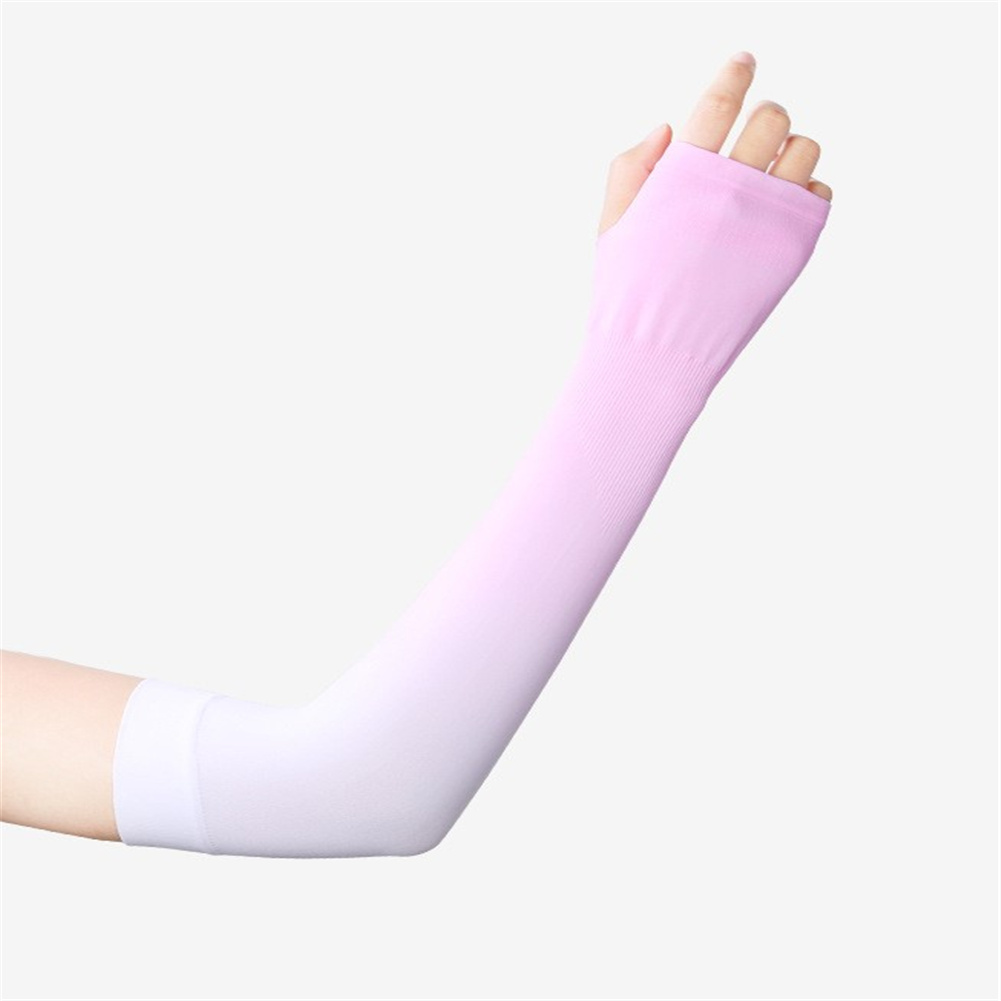 Women 1pair High  Elastic Sunscreen  Sleeve Breathable Quick-drying Gloves For Outdoor Riding Fishing Pink_One size
