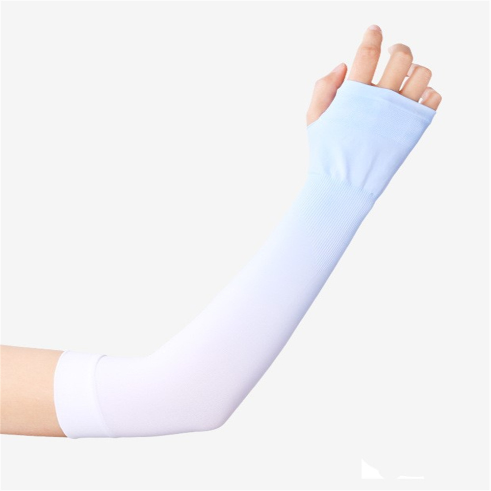 Women 1pair High  Elastic Sunscreen  Sleeve Breathable Quick-drying Gloves For Outdoor Riding Fishing Blue_One size
