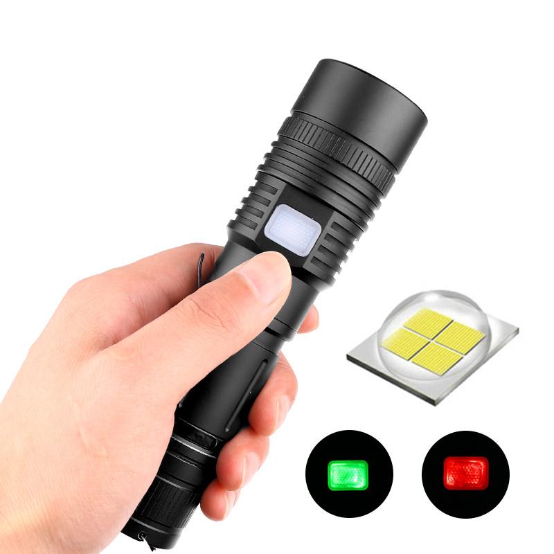 LED XHP 50 USB Charging Bright Outdoor Camping Hiking Flashlight black_Model 086