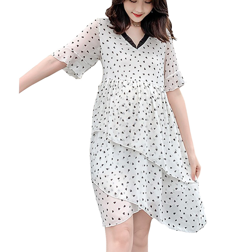 Maternity Dress Chiffon Sweet Polka Dot Mermaid Dress Loose Breathable Pregnant Woman Clothes Photo Color_XL