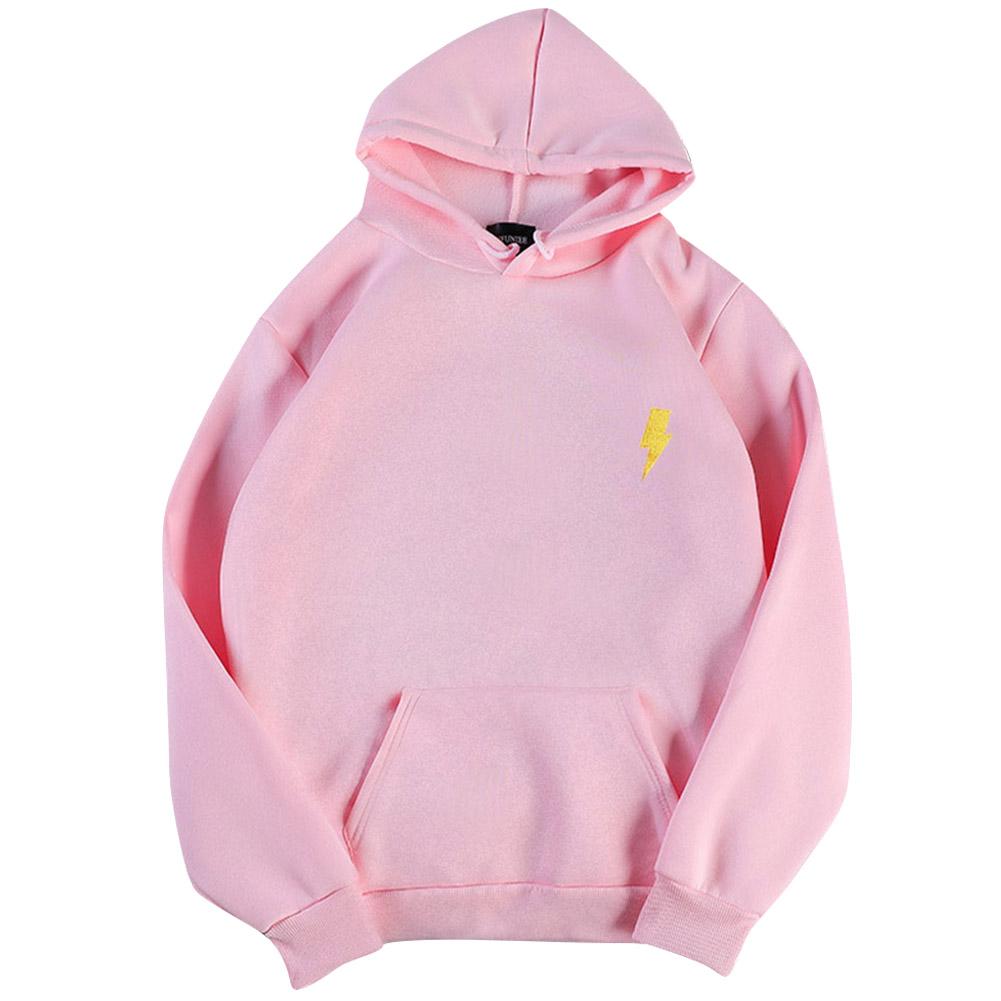 Men Women Hoodie Sweatshirt Thicken Velvet Loose Flash Autumn Winter Pullover Tops Pink_XL