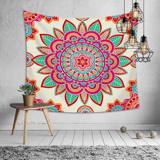 Large Mandala Indian Tapestry Wall Hanging Bohemian Beach Mat Polyester Thin Blanket Yoga Shawl Mat  Blanket