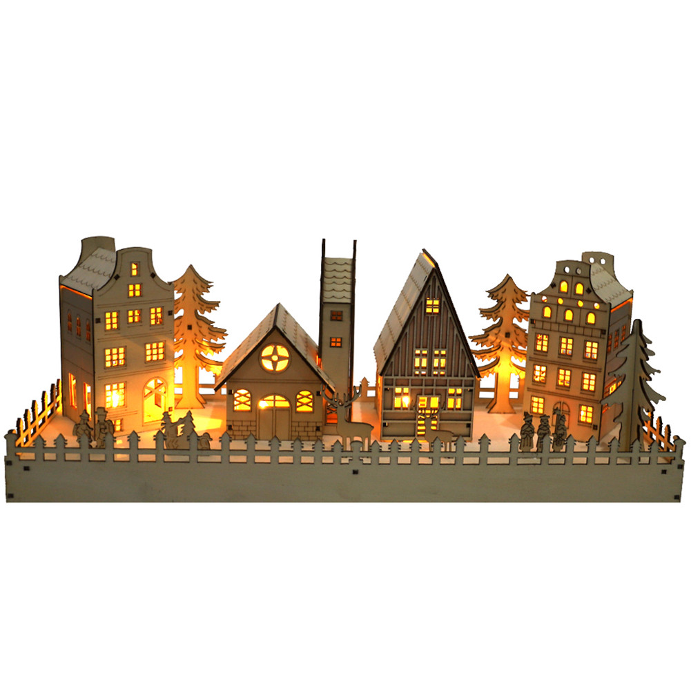 Decorative  Ornaments Wooden Christmas Tree Scene House Character Led Light Household Diy Crafts As shown