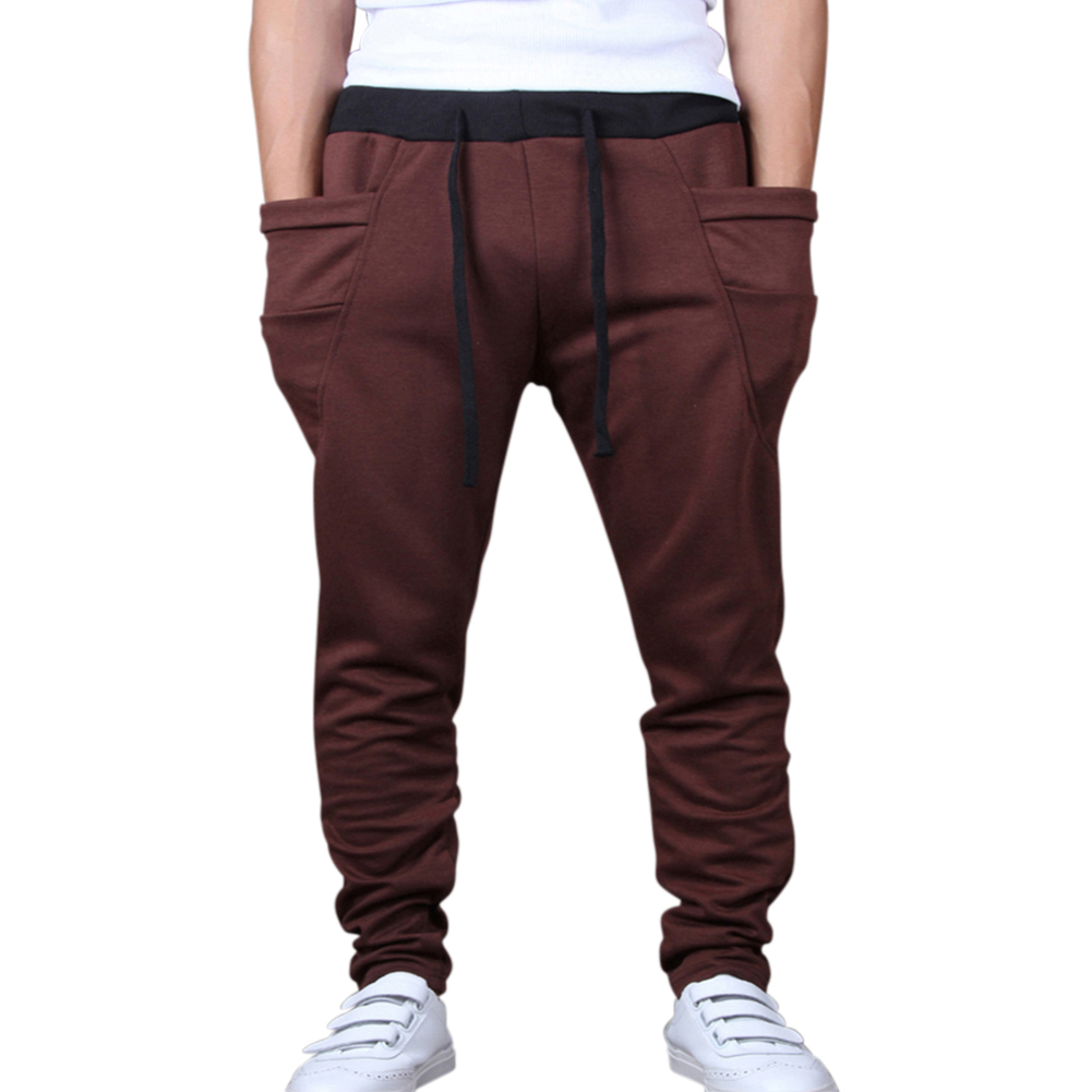 Men Solid Color Middle Waist Casual Harem Pants coffee_M (28-29)