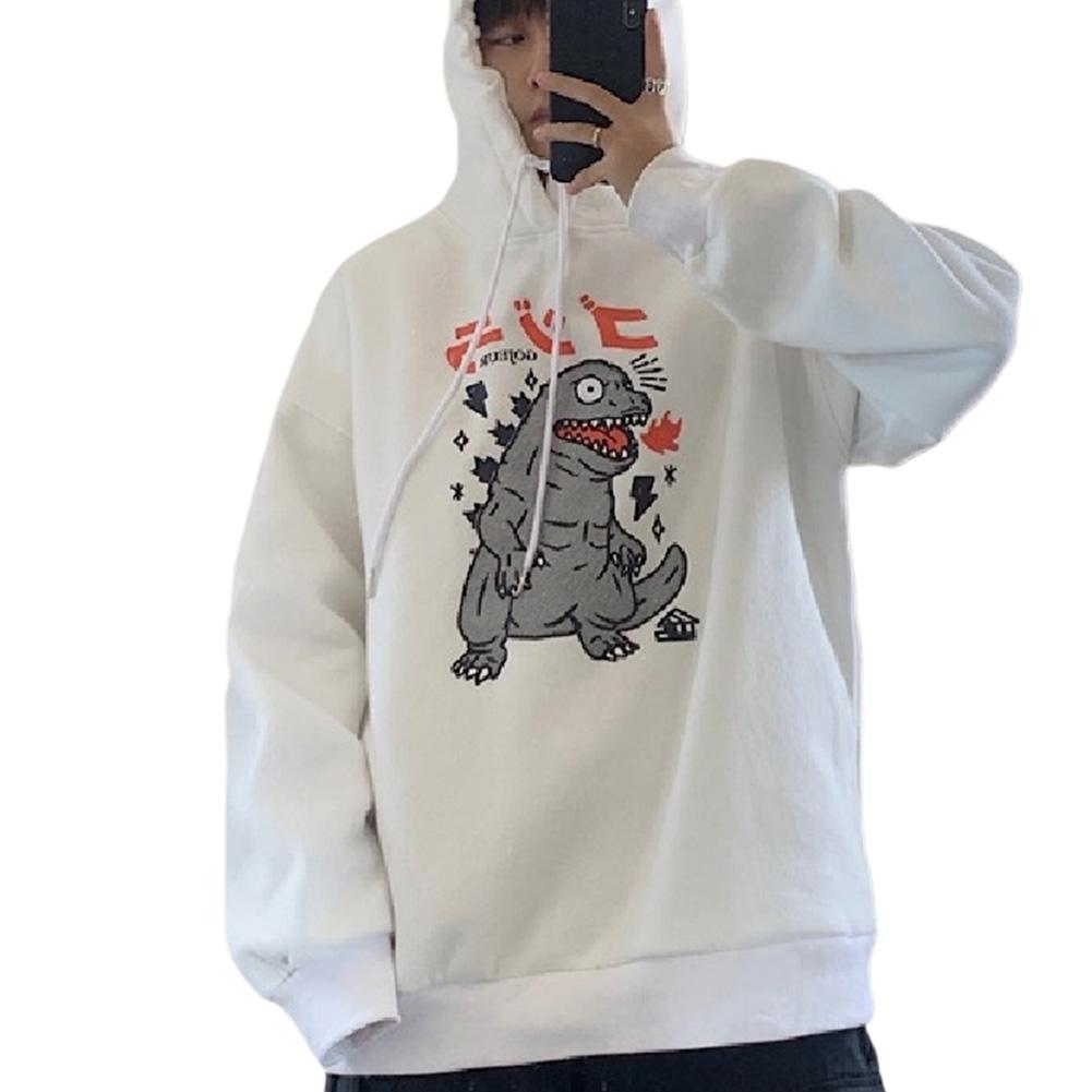 Man Woman Oversize Hoodie Spring Autumn Loose Cartoon Dinosaur Printing Pattern Drawstring Hoodie White_M