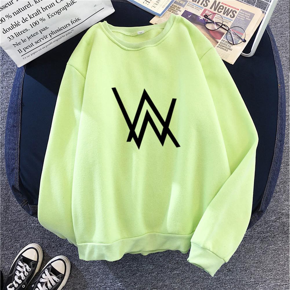 Men Women Autumn Winter Loose Thicken Fleece Round Collar Sweatshirts Coat for Students Lovers green_XL