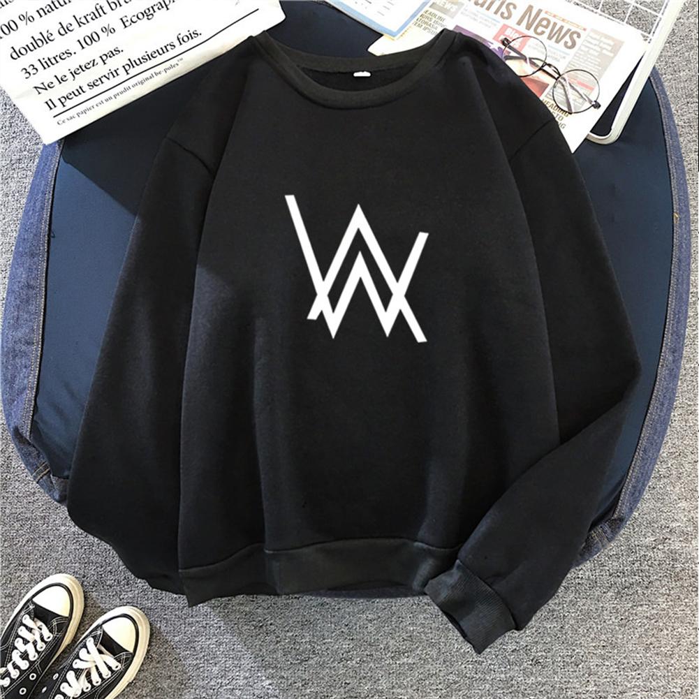 Men Women Autumn Winter Loose Thicken Fleece Round Collar Sweatshirts Coat for Students Lovers black_2XL