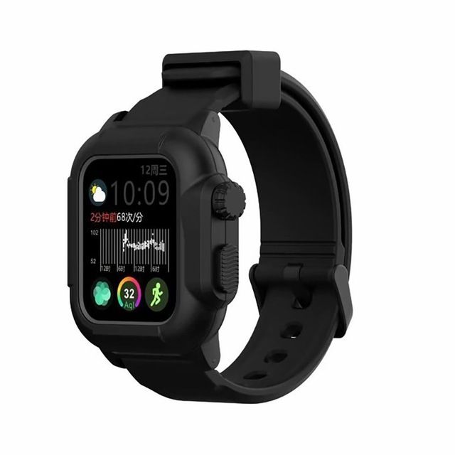 Waterproof Case for Apple Watch Band 4 iWatch Bands Silicone Strap 44mm 40mm Bracelet Smart Watch Accessories  black_44MM