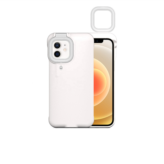 Mobile Phone Protective Case With Night Selfie Fill Light Suitable For Iphone12 white_iPhone 12/12pro