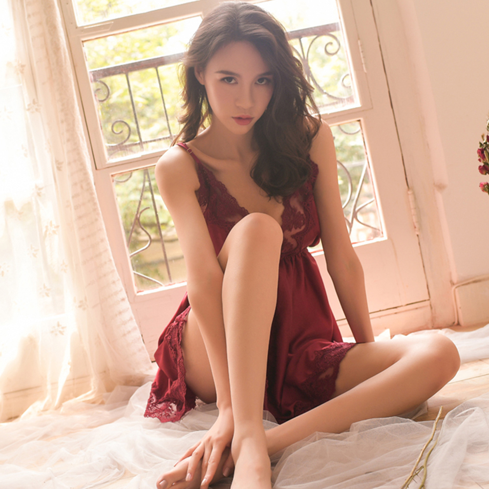Lady Sexy Lingerie Lace Floral Backless Sling Nightdress + Briefs Temptation Underwear red_One size