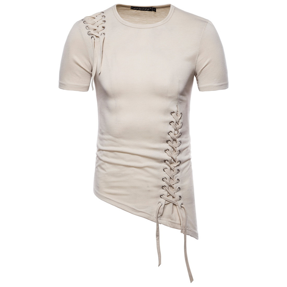 Men Casual Slim Short Sleeve T-Shirt Unique Irregular Hem Braided Rope Tops Light Khaki_L