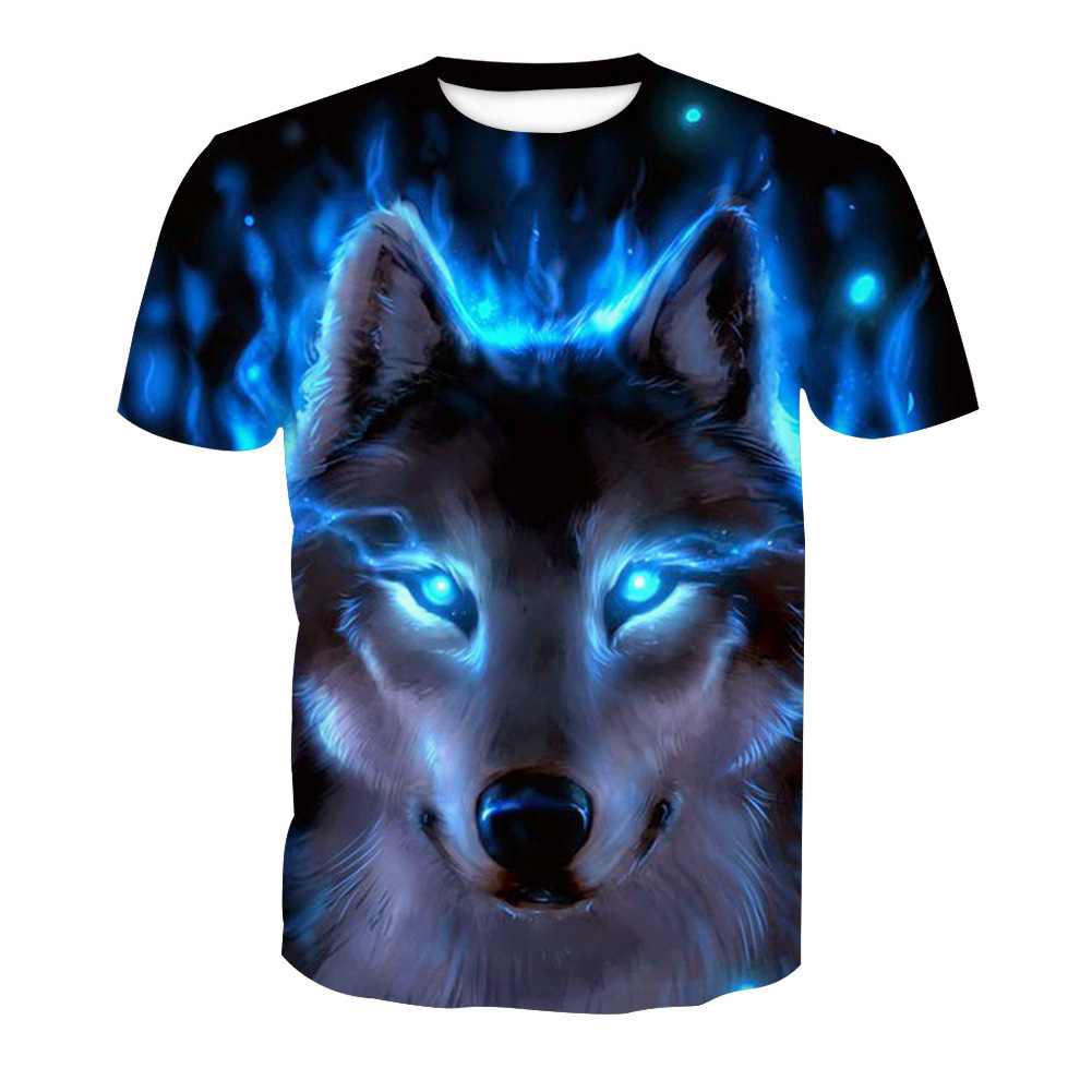 Men 3D Blue Wolf Digital Printing Pattern Short Sleeve T-shirt Wolf _M
