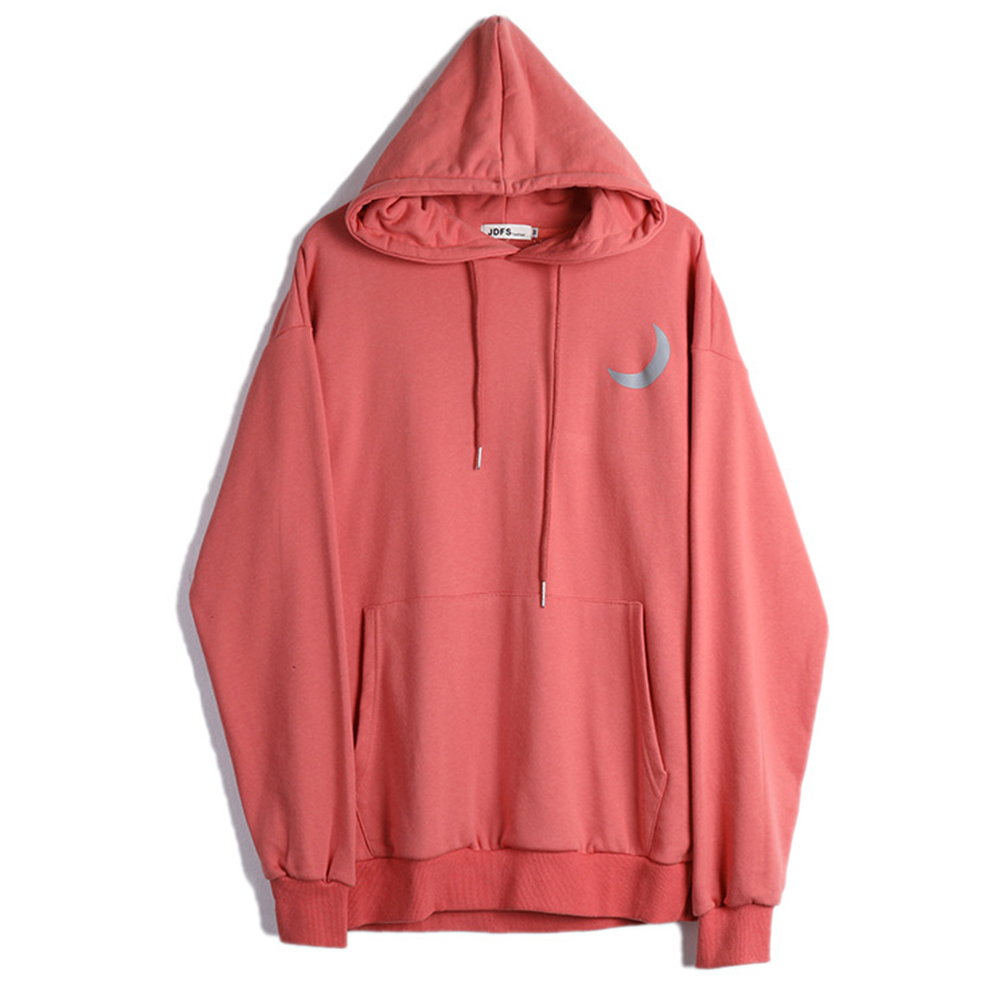 Man Fashion Autumn And Winter Warm Loose Hooded Sweater Printing Hoodie Tops red_M