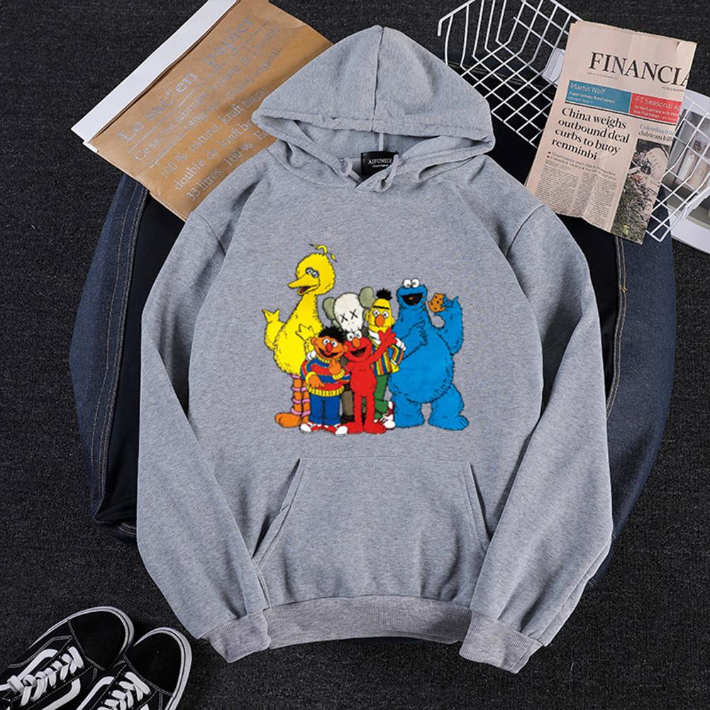KAWS Men Women Hoodie Sweatshirt Cartoon Animals Thicken Loose Autumn Winter Pullover Gray_XL