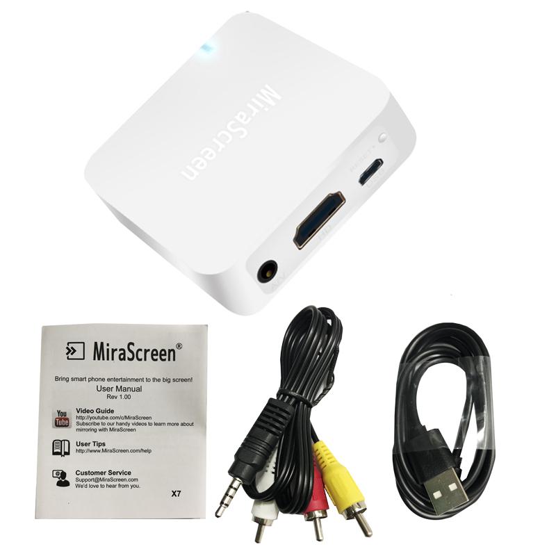 Car WiFi Display Box With Screen AV + HDMI Dual Interface Push Treasure white