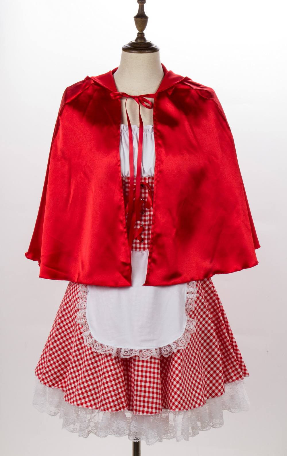 Women Copaly Dress Suit Plaid with Lace Decoration for Halloween Beer Festival  red_M