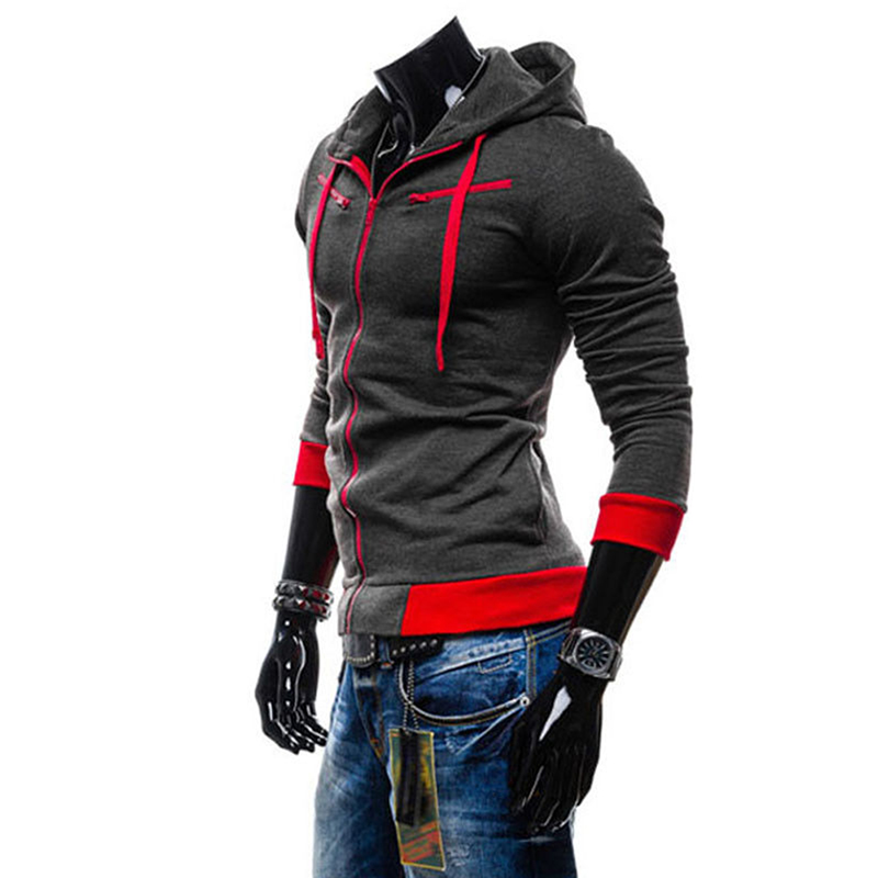 Men Fashion Matching Color Fleece Cardigan Hoodie Windproof Warm Drawstring Jacket Dark gray_XL