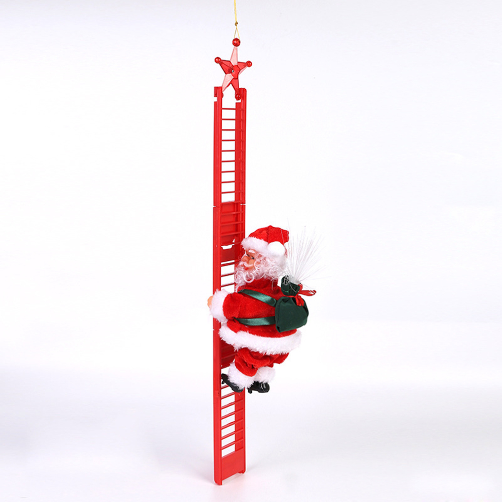 Electric  Climbing  Ladder  Santa  Claus Christmas Ornament Home Christmas Tree Hanging Decor With Music Non-Glowing Red Ladder Elderly