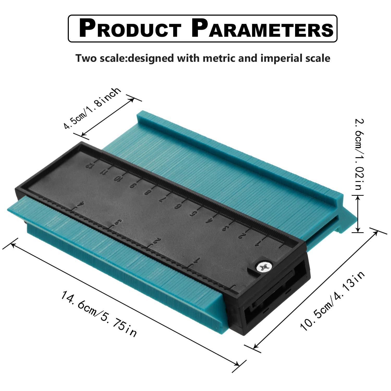 Contour Profile Gauge Multi-functional Plastic Contour Duplicator Edge Shaping Measure Ruler for Tiling Laminate Woodworking Practical Tool  Blue