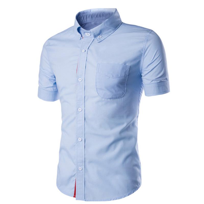 Summer Casual Short-sleeve Shirt blue XL