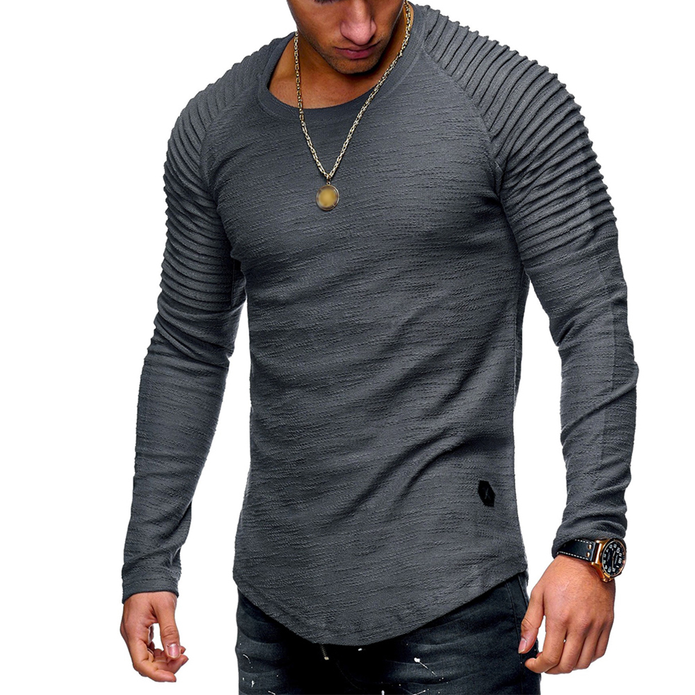 Men Slim Fit O Neck Long Sleeve Muscle Shirt Casual Solid Color Tops Blouse gray_L