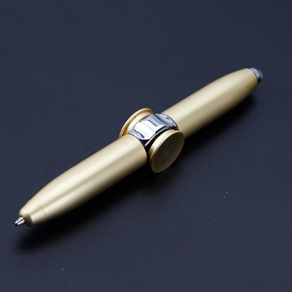 Fidget Hand Spinning Pen with LED Light Spinner Toys Ballpoint Pen Gift  Gold