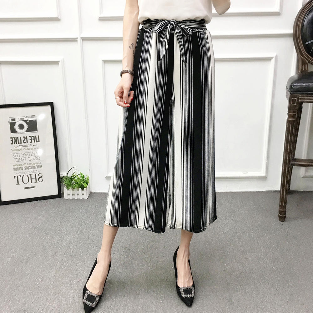 Women Black High Elastic Waist Ninth Loose Pants for Summer Wear Blue black strip_One size