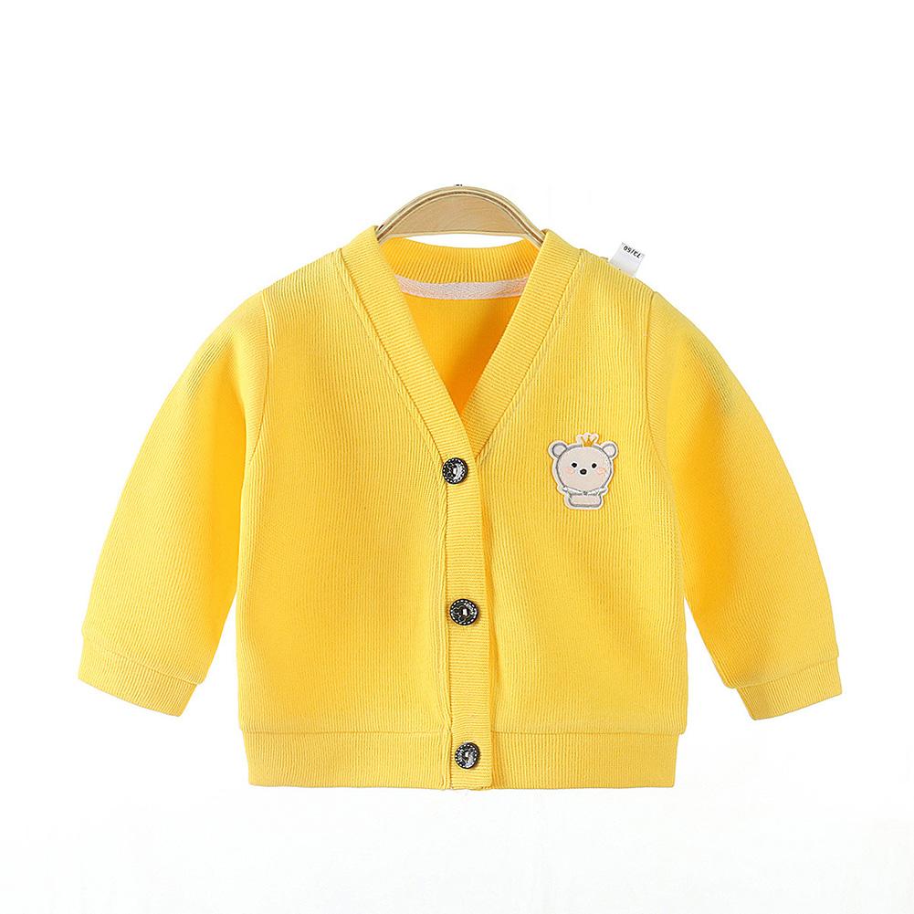 Children's Sweater Cardigan Cartoon Pattern Jacket for  0-3 Years Old Kids yellow_73cm