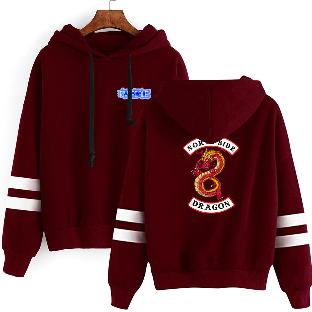 Men Women American Drama Riverdale Fleece Lined Thickening Hooded Sweater Burgundy E_XXL