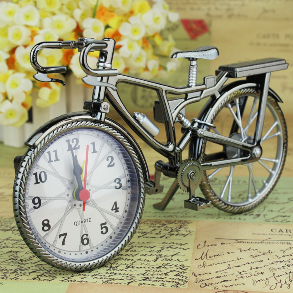 Bedroom Desk Glamorous Home Stand Clock Quartz Bicycle Alarm Clock Christmas Gift (Random Clock Dial))