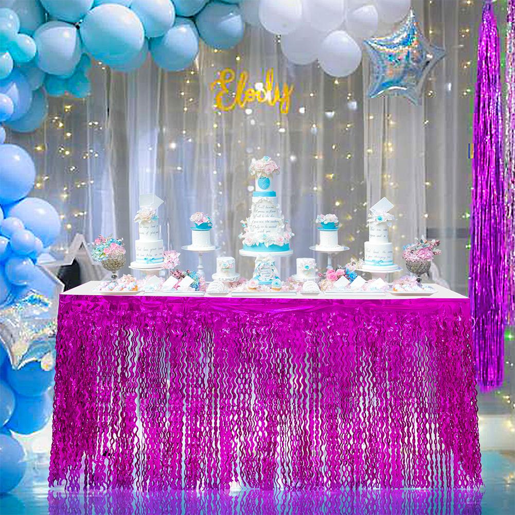 Spiral Tassel Table Skirt for Wedding Birthday Party Decoration purple_275CMX high 75CM