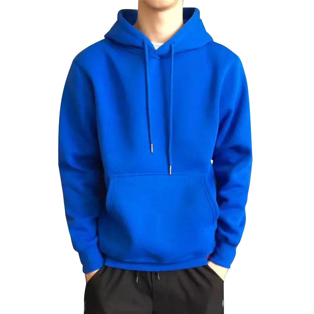 Men Kangaroo Pocket Plain-Colour Sweaters Hoodies for Winter Sports Casual  blue_L